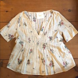 Maeve short sleeve pleated top Anthropologie